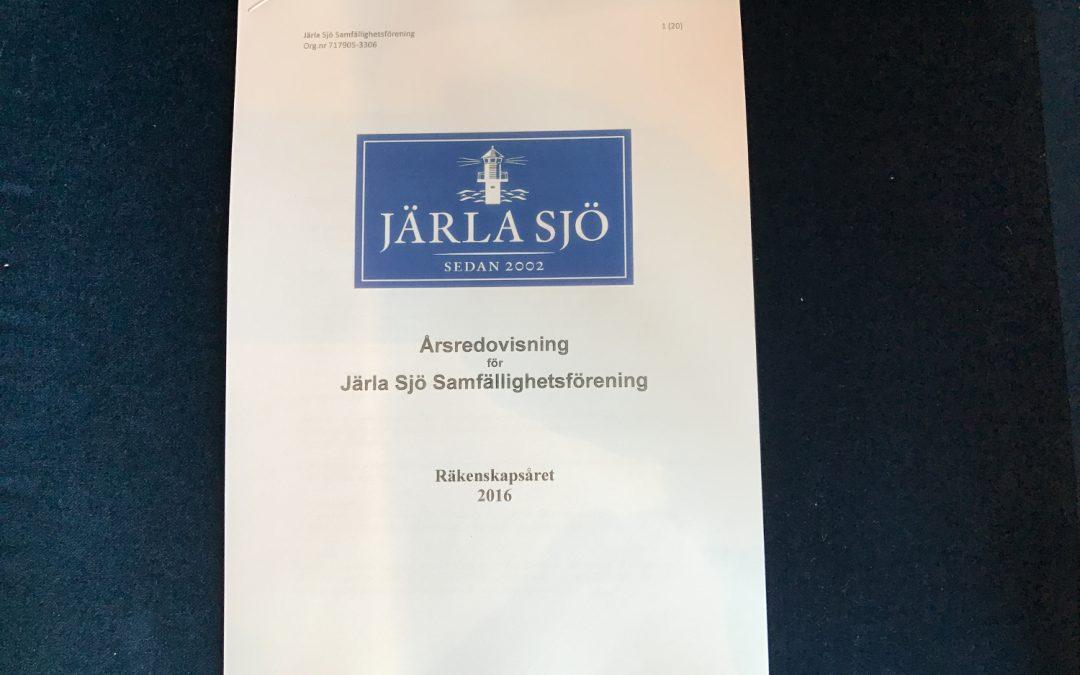 Information från årsstämma torsdagen den 11 maj Järla Sjö Samfällighetsförening